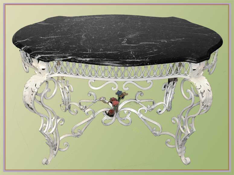 Vintage Metal Garden Table, with Shaped Marble Top