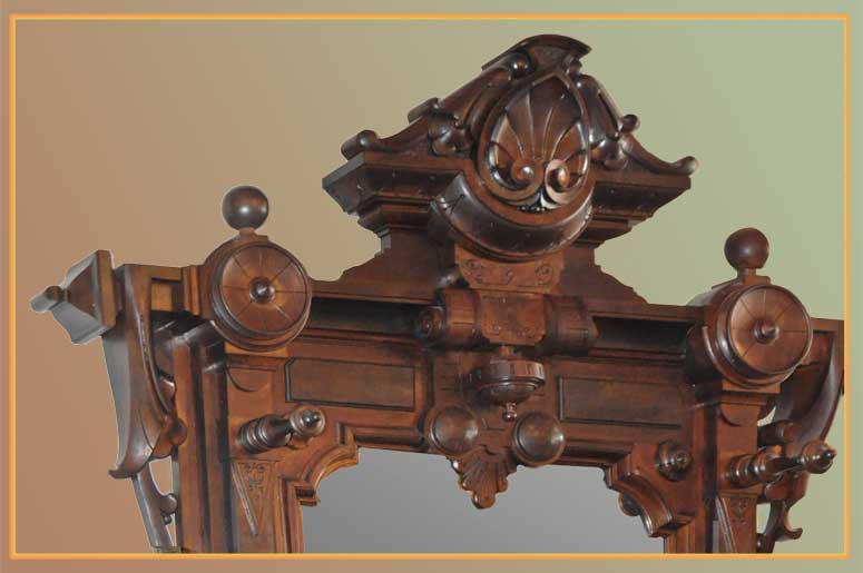 Large, Ornately Carved Walnut Hall Tree