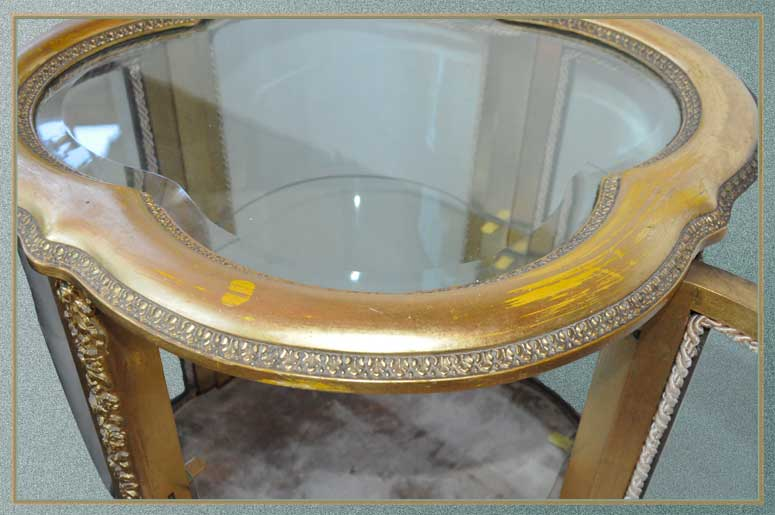 Small Gold Vitrine, with Shaped Glass