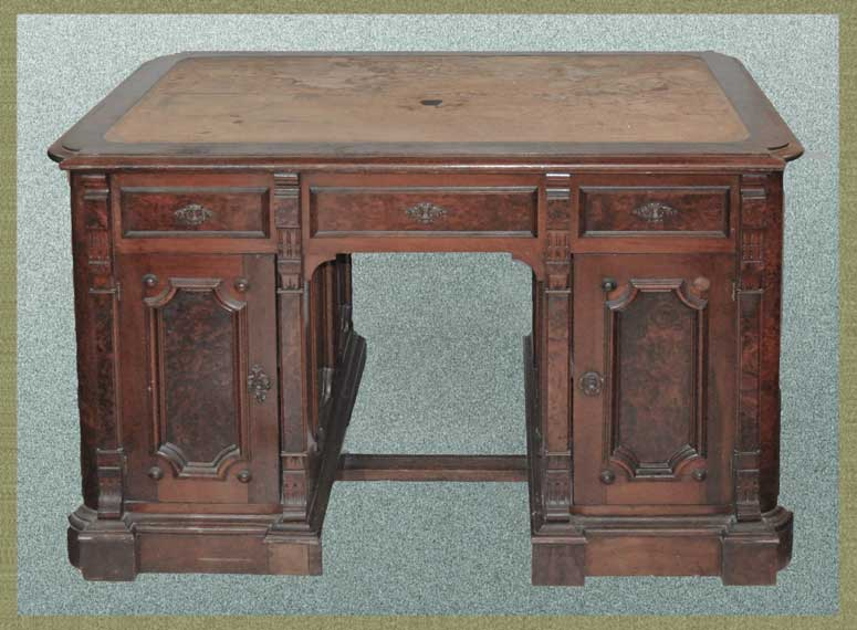 Small Carved Walnut Partners's Desk