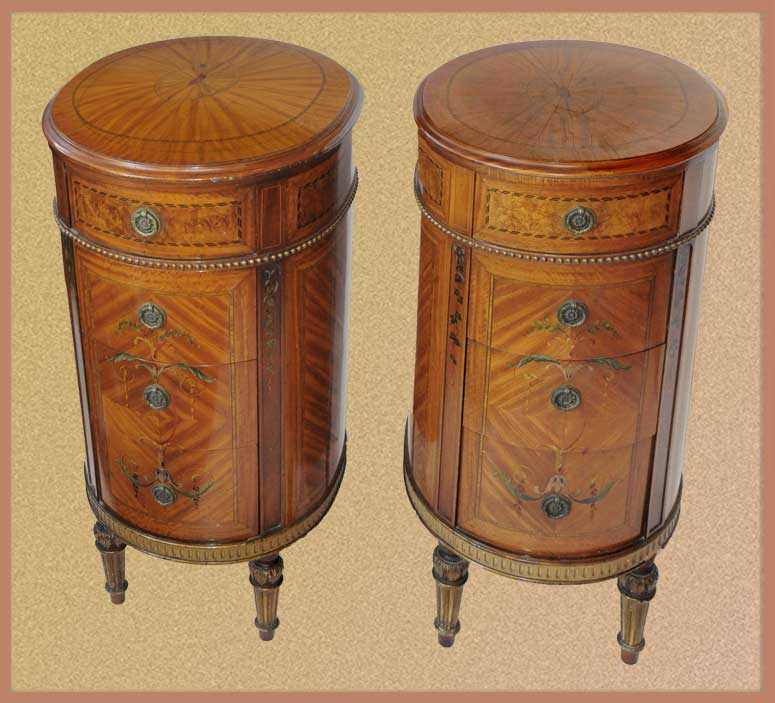 Cute Pair of Small Side Tables, with Inlays