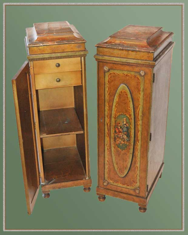 Artful Pair of Tall Decor Cabinets, with Painted Detail
