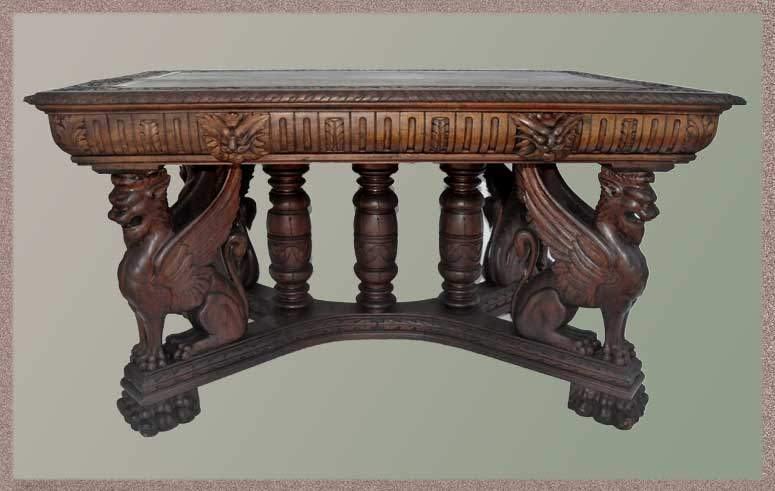 Deeply Carved Library Table, with Griffin Base