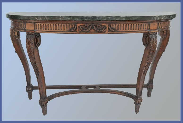 Wide Half-Round Console, with Swirled Marble Top