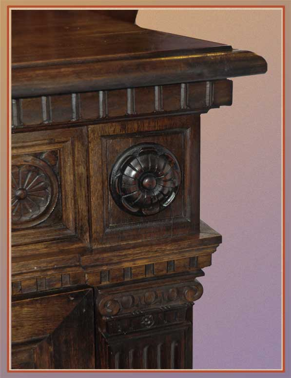 Large, Deeply Carved Drop-Front Cabinet