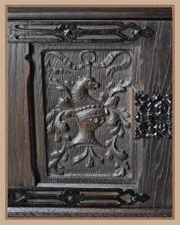Two-Door Linen Fold Cabinet, with Carved Relief