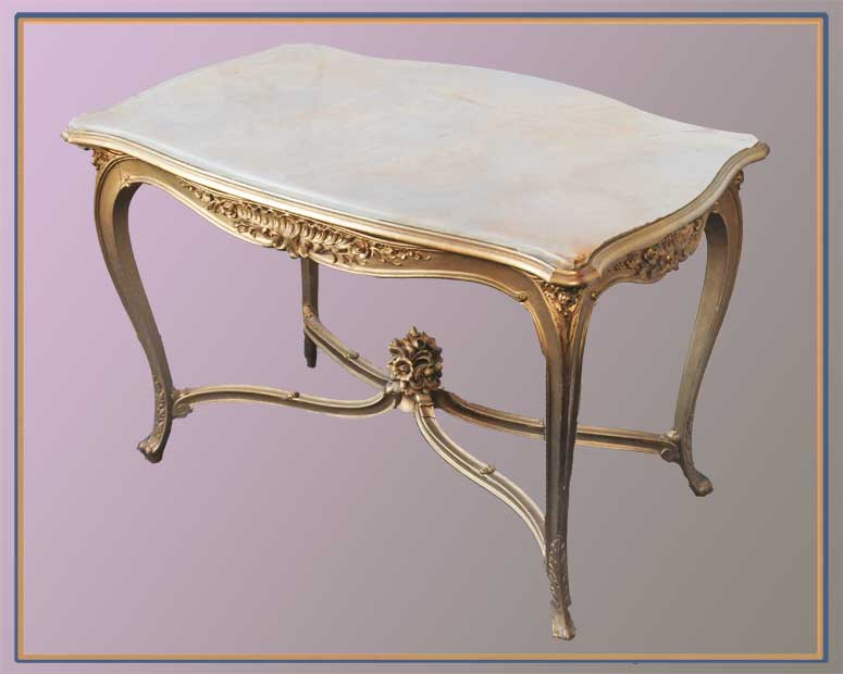 French-Style Carved Table, with Shaped White Onyx Top
