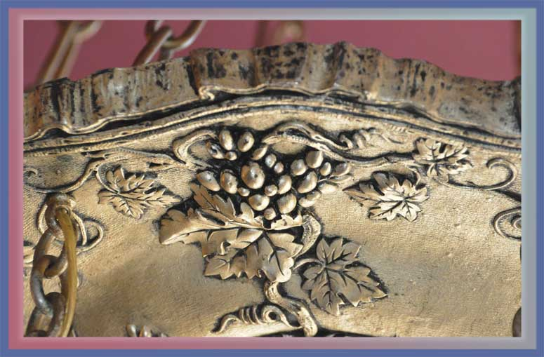 Fancy Silver-Plated Light, with Grape Relief & Antique Shades