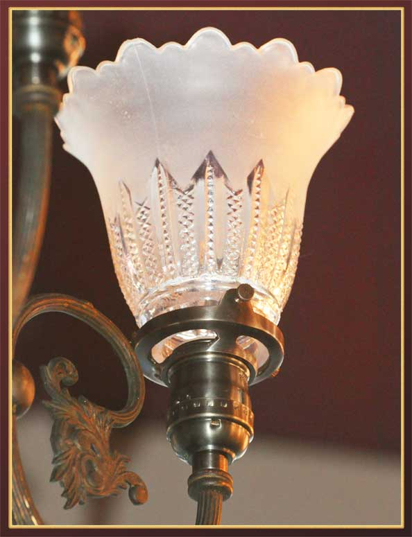 Charming Small Three-Armed Light, with Up-Pointing Shades
