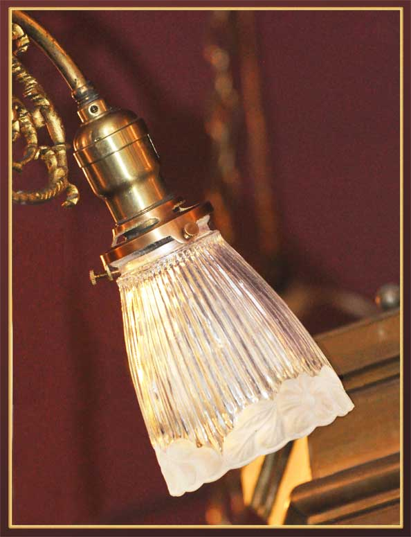 Small Three-Armed Brass Light, with Down-Pointing Shades