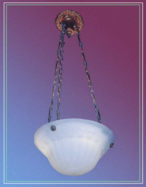 Large Frosted-Glass Bowl Light, with Floral Embossings