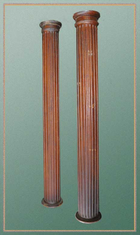 Salvaged Pair of Carved Wooden Columns