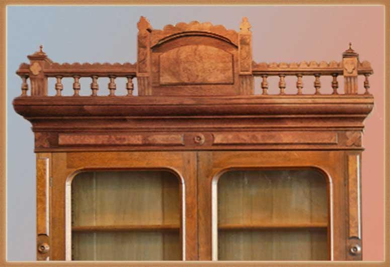 Nice Two-Door Walnut Bookcase, with Burls