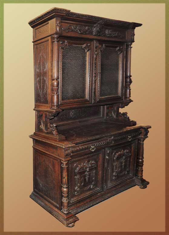 Deeply Carved Oak Court Cupboard