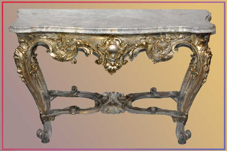 Italian Console Table, with Shaped Marble Top