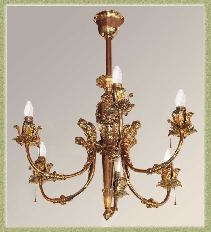Stunning Six-Armed Brass Light, with Angels
