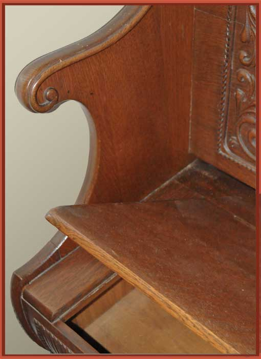 Carved Oak Bench & Mirror Combo