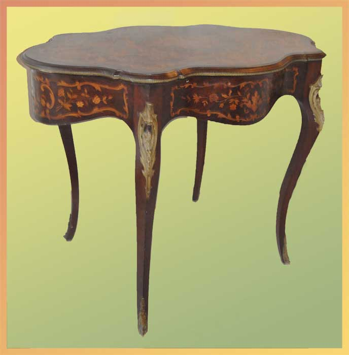 Mahogany Turtle Table, with Inlays