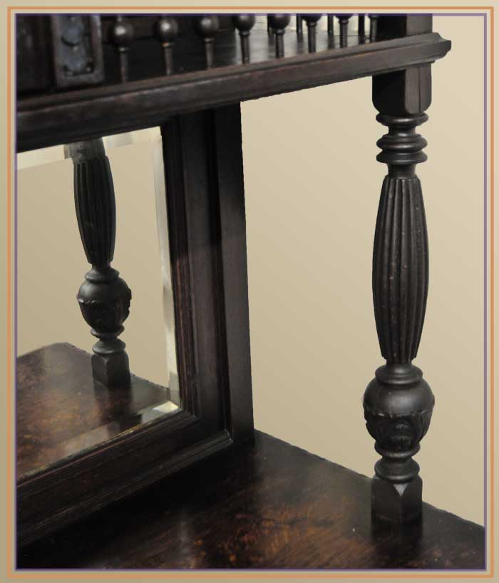 Dark Oak Sideboard, with Curio Top