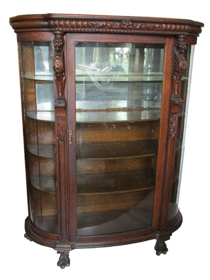Oak China Cabinet Circa 1900 Wooden Nickel Antiques