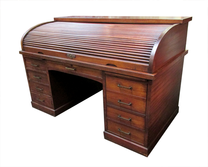 "Mahogany Antique Roll Top ""Derby"" Desk - Antique Furniture - Wooden Nickel Antiques"