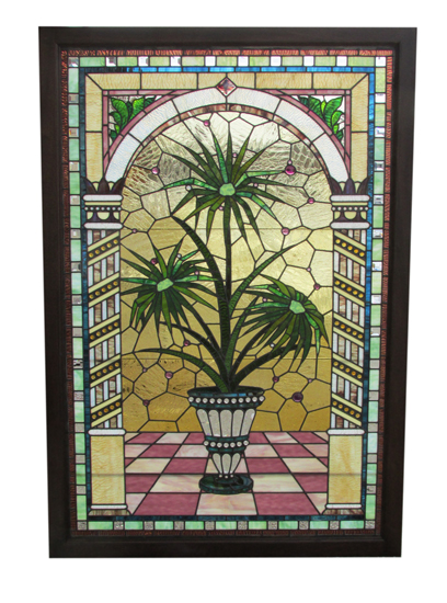 Large Stained Glass Window With Potted Palm Tree Design
